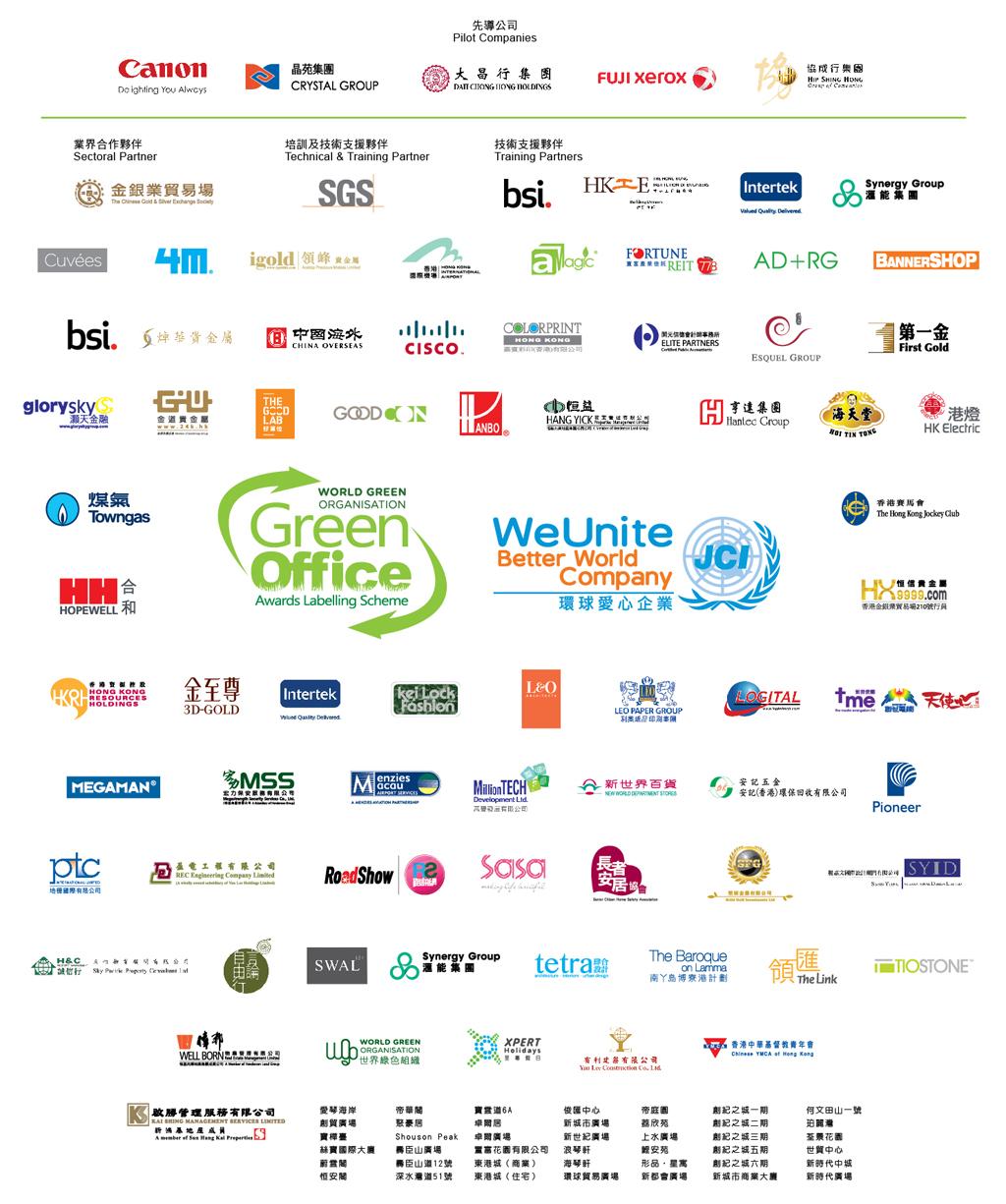 2013年度得獎名單 - 綠色辦公室獎勵計劃 - 世界綠色組織 (WGO)