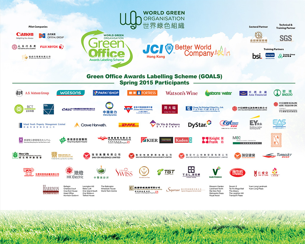 WGO Green Office 2015 awardees company list