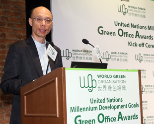 Mr. WONG Kam-sing, Secretary for the Environment speaking at the kick-off ceremony