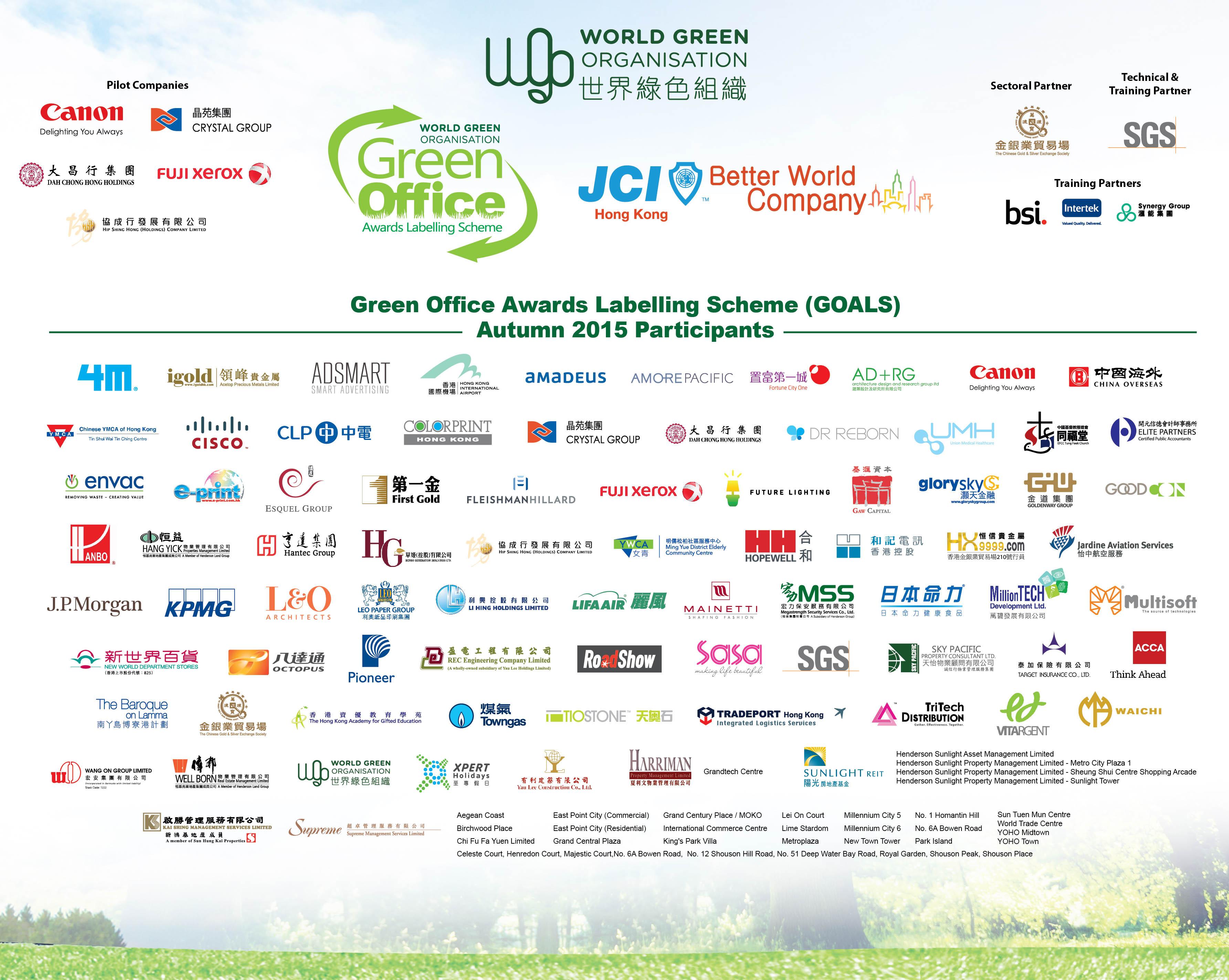 WGO Green Office 2015 awardees company list